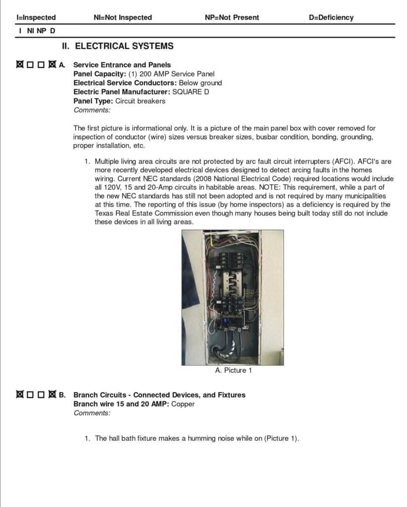 Sample Inspection Report Part II